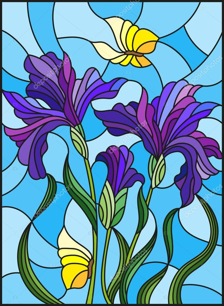 Illustration in stained glass style with a bouquet of purple irises and yellow butterflies on a blue background
