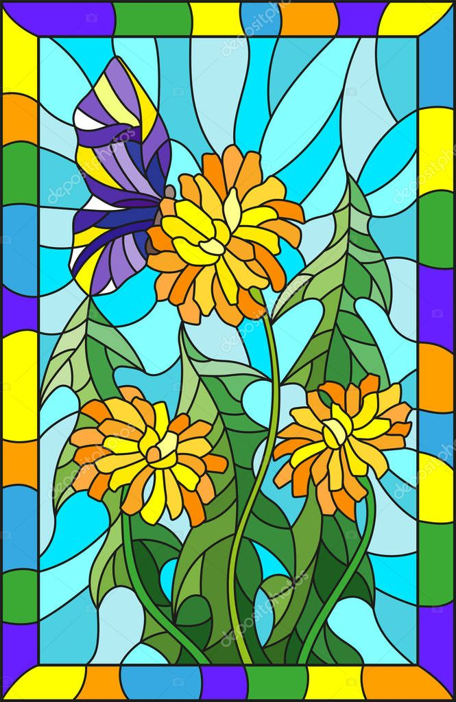 Illustration in stained glass style flower of Taraxacum and butterfly on a blue background in a bright frame