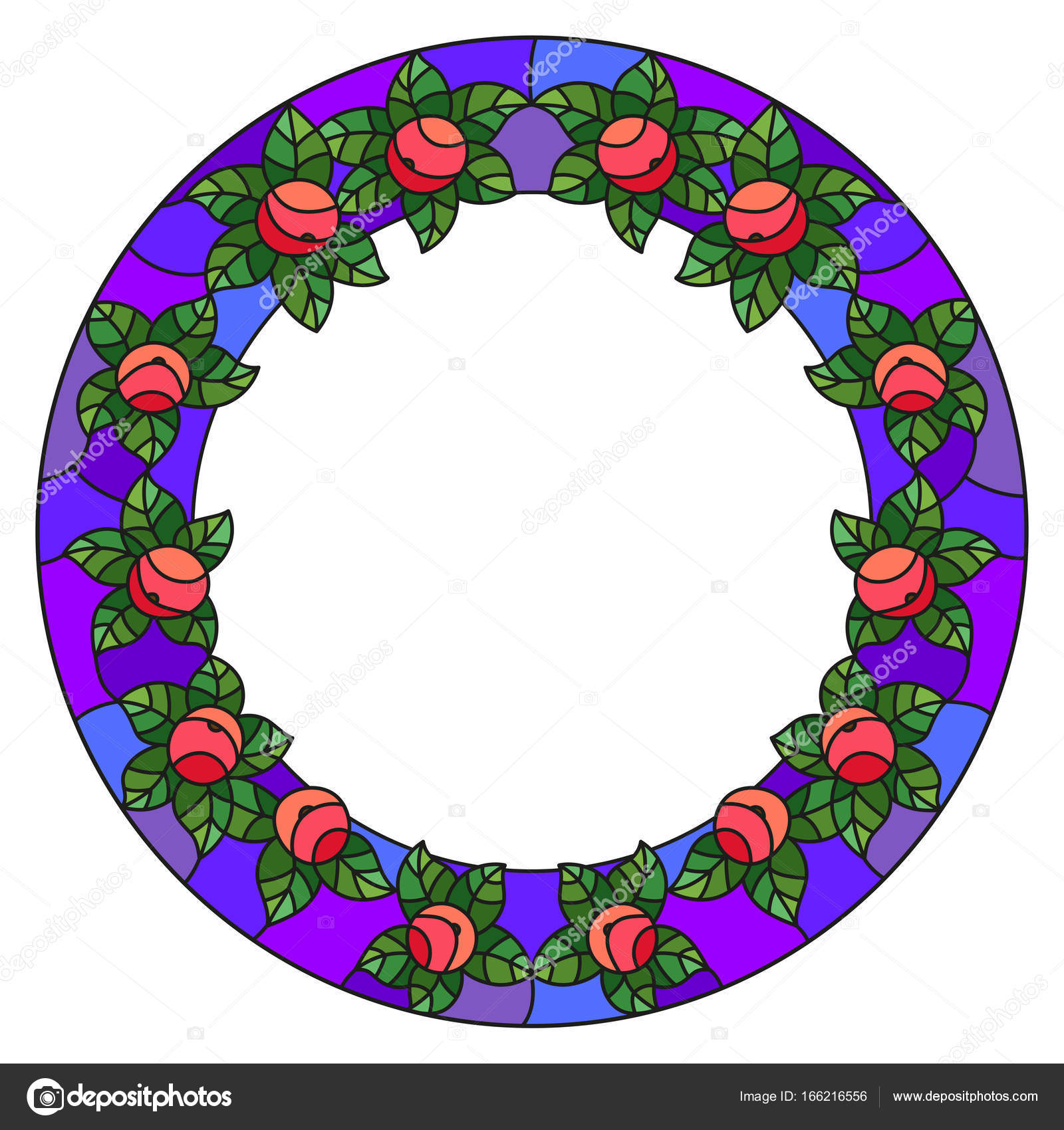 Ilustración en marco de estilo de vidrieras con manzanas y hojas ...