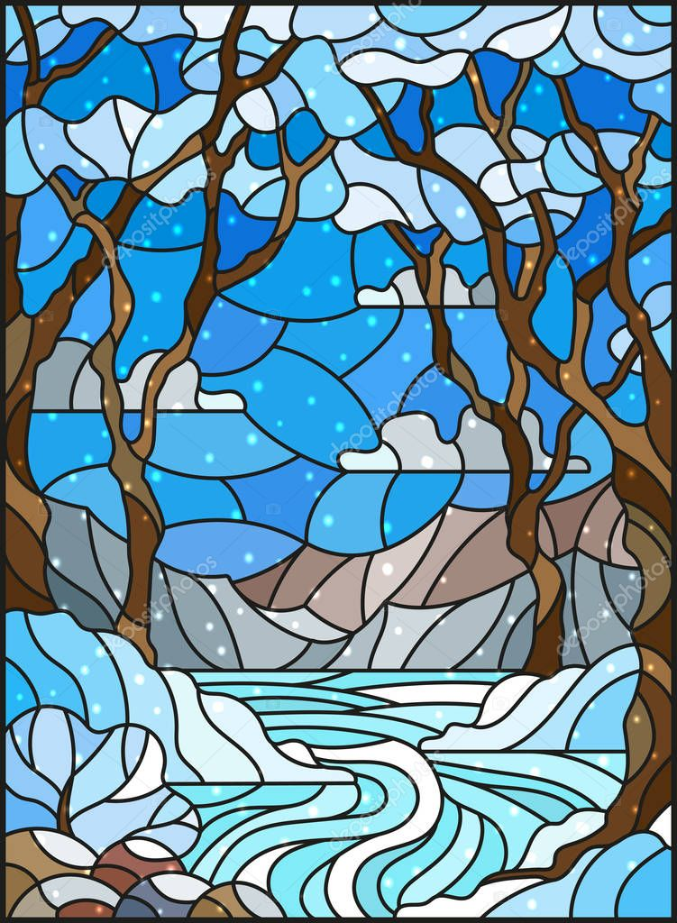Illustration in stained glass style with a frozen Creek in the background of the  sky, snowy mountains,  trees and fields