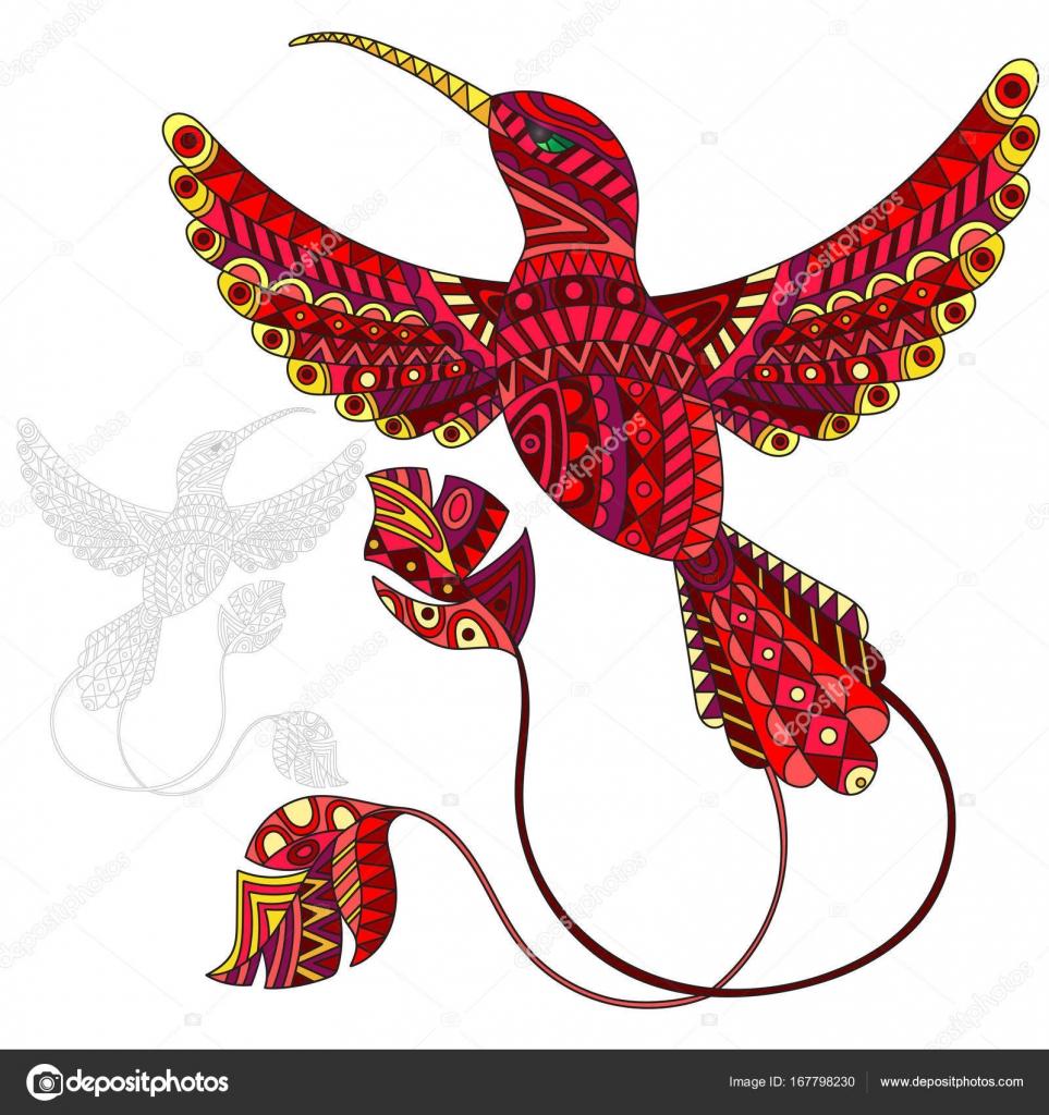 ilustração de beija flor vermelho abstrata pássaros e pintou seu