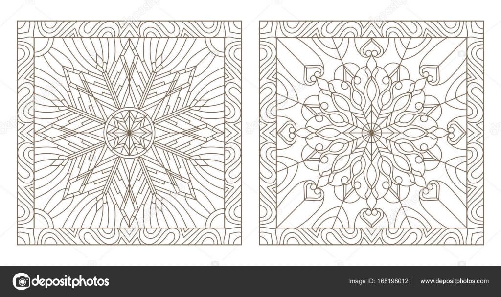 Conjunto contornos ilustraciones de vidrieras con copos de nieve en ...