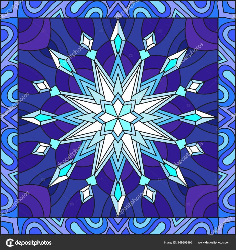 Ilustración estilo vidrieras con copo de nieve en los colores azul ...