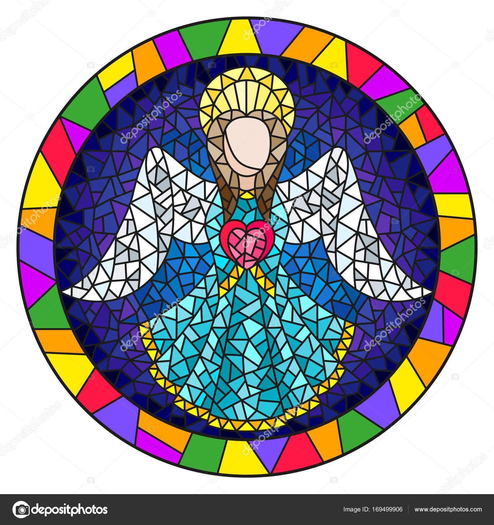 Abbildung in Glasmalerei-Stil mit einem abstrakten Engel im blauen ...