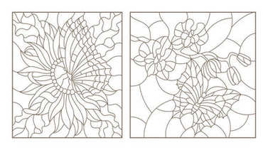 Set contour illustrations of the stained glass with butterflies and flowers, Orchid and Aster butterfly, black contour on white background
