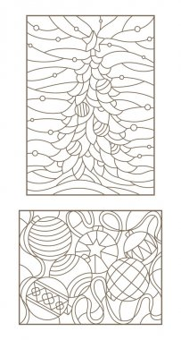 Set contour illustrations of the stained glass Windows on the theme of new year and Christmas still life with Christmas decorations and landscape with Christmas tree, dark outline on a light background