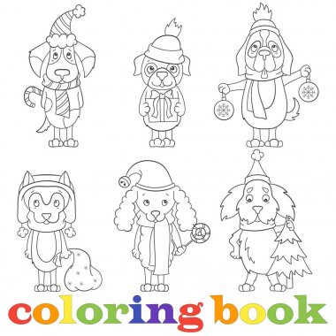 Contour set of illustrations with funny cartoon dogs on the topic of new year and Christmas, book coloring,a dark outline on a light background