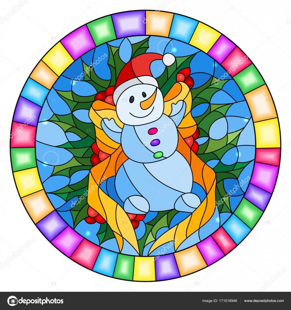 Abbildung in Glasmalerei-Stil mit einem lustigen Schneemann, Band ...