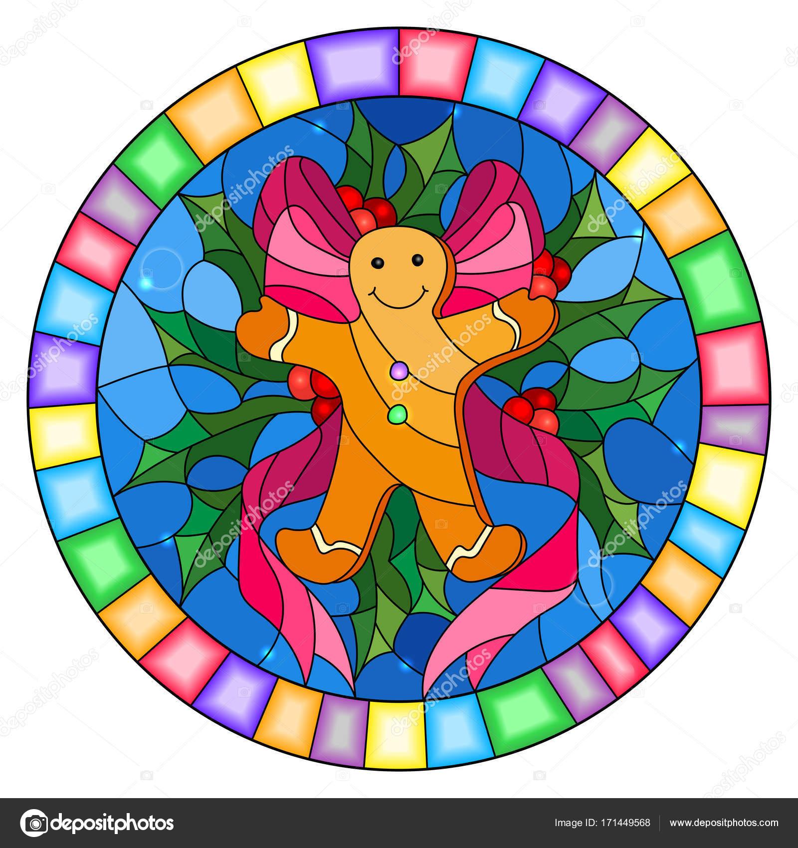 Abbildung in Glasmalerei-Stil mit einem Lebkuchenmann, Band und ...