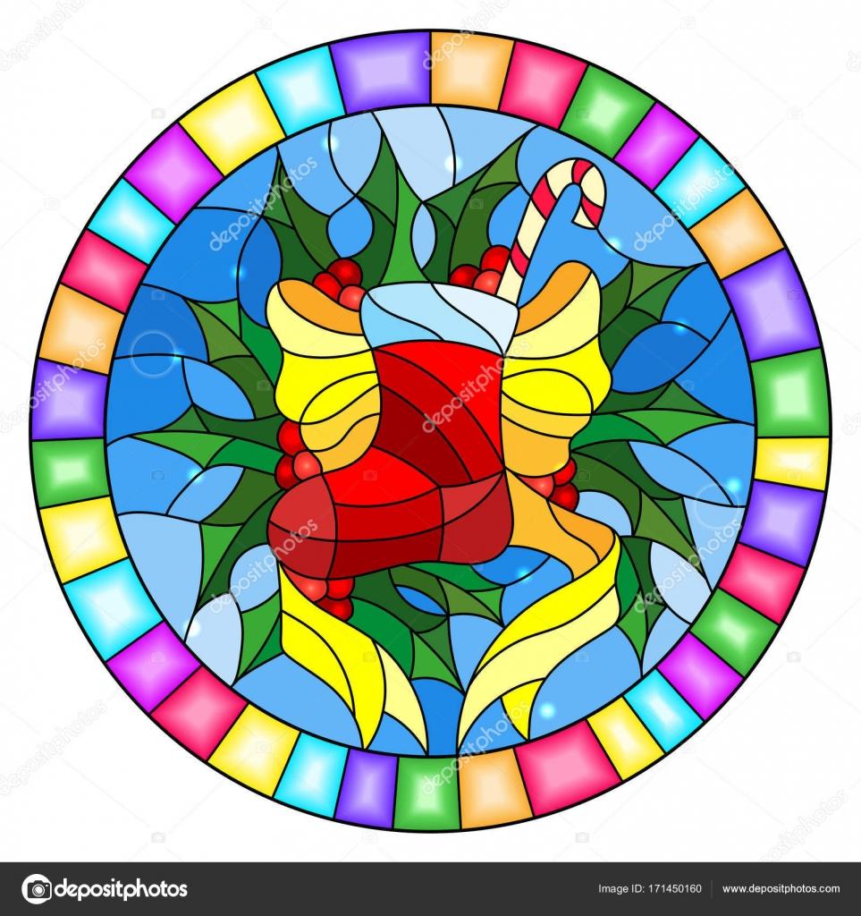 Abbildung in Glasmalerei-Stil mit einem Weihnachtssocke, Band und ...