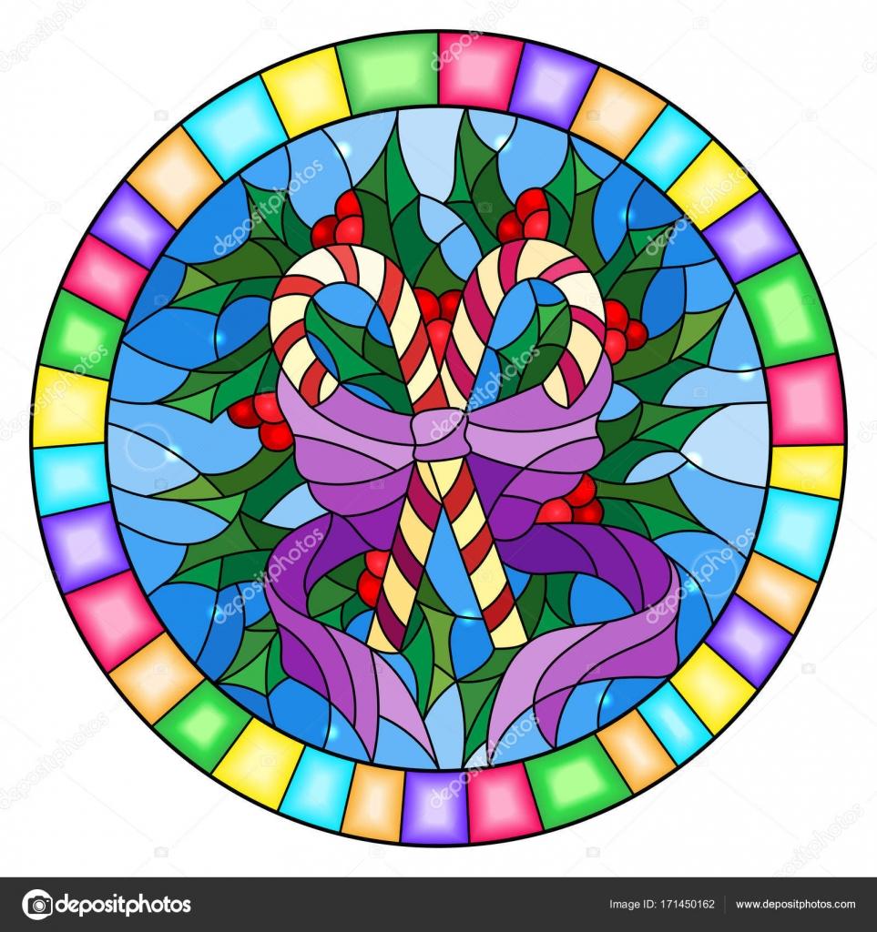Abbildung im Stil der Glasmalerei mit Lutscher Holly zweigt und ...