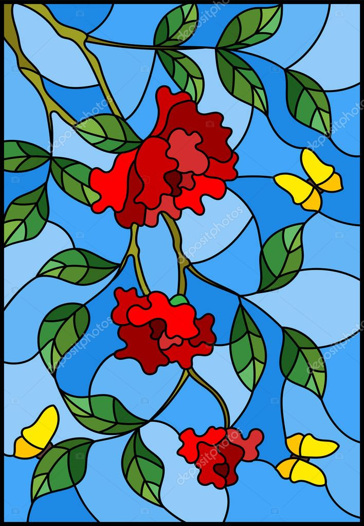 Illustration in stained glass style with flowers  , leaves of  rose and butterflies on the blue background