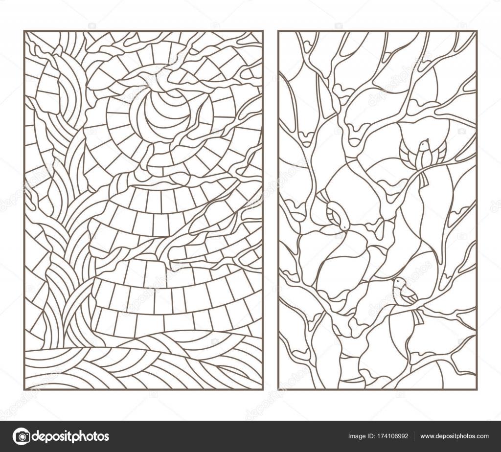 definir contornos ilustrações do vidro manchado janelas com árvores