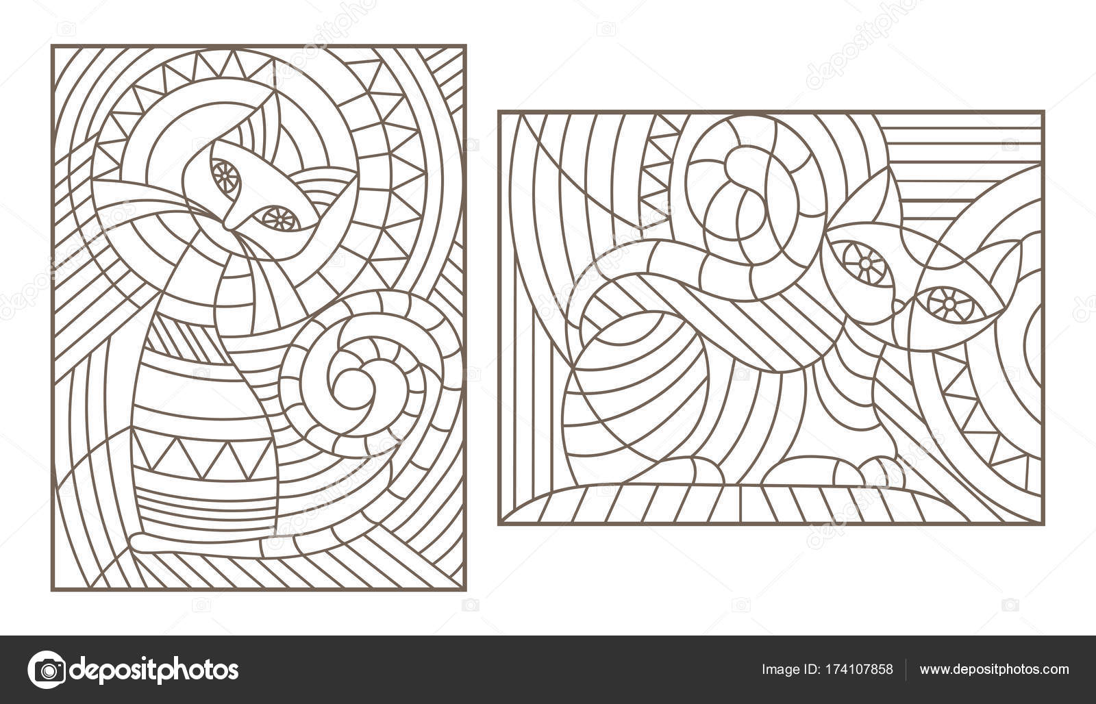 Set Of Outline Illustrations In The Style Stained Glass With