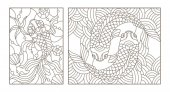 Photo Set contour illustrations of stained glass with gold fish , black contour on white background