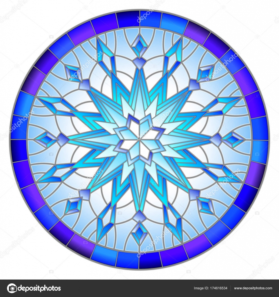 Ilustración estilo vidrieras con copo de nieve en color azul los ...