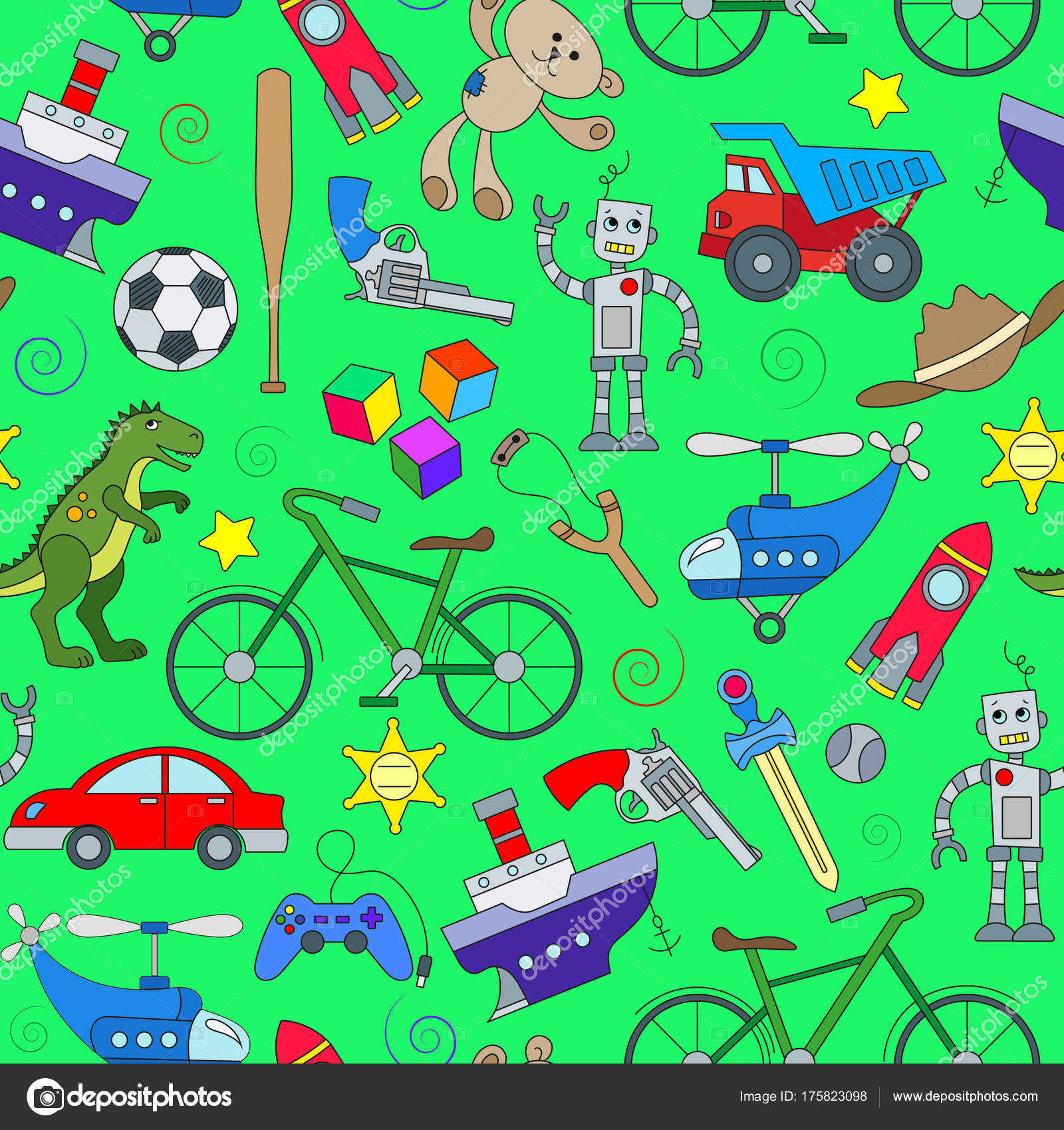 Seamless pattern on the theme of childhood and toys, toys for boys ...