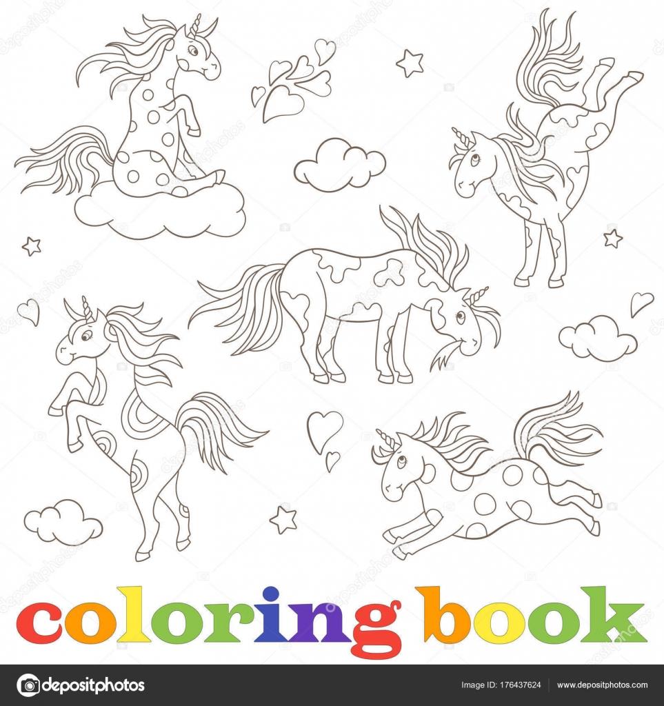 Impostare Il Contorno Illustrazioni Di Unicorni Animali Divertenti