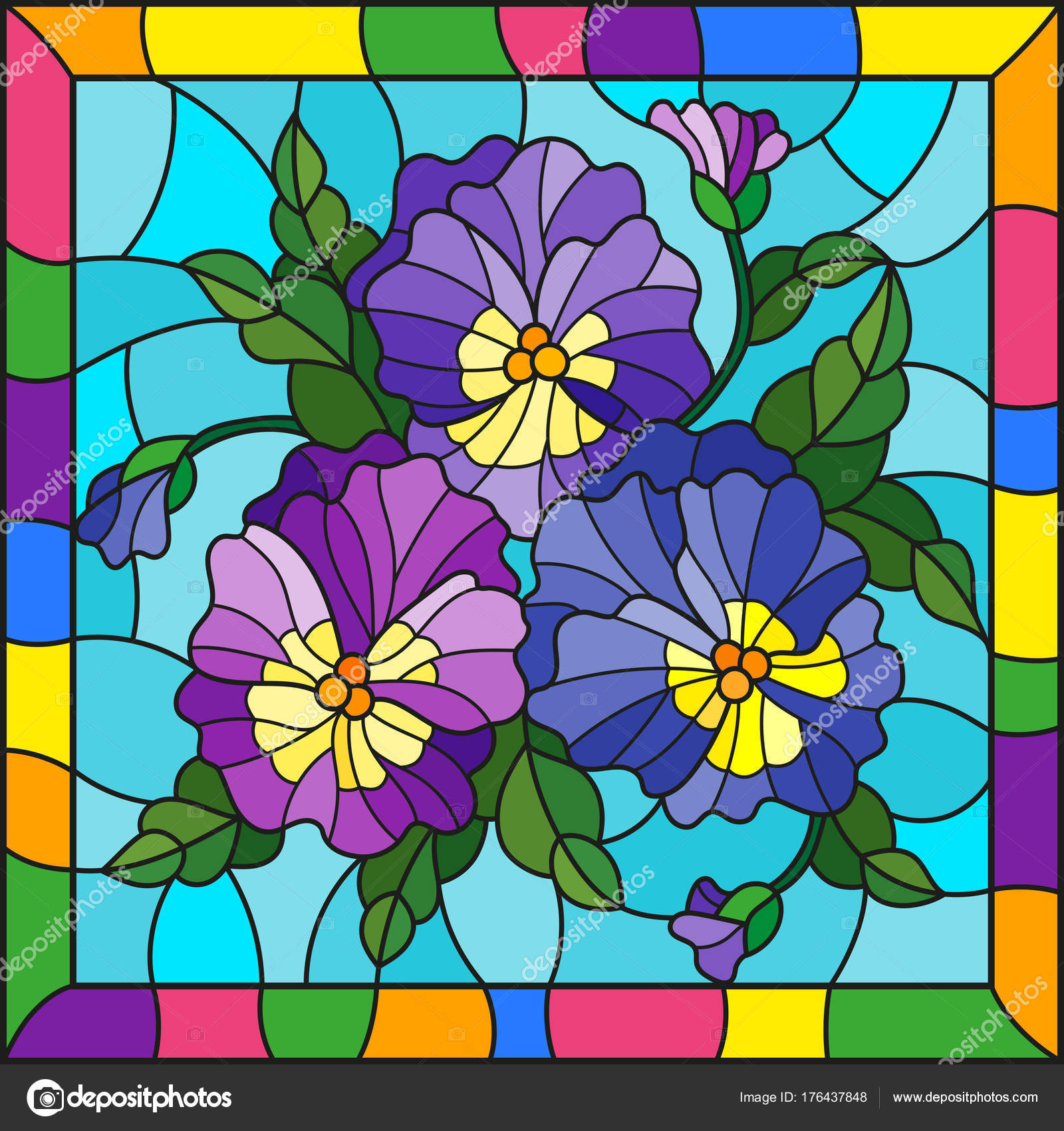 Ilration In Stained Gl Style With Flowers Buds Leaves And Of On A Blue Background Bright Frame Vector By Zagory