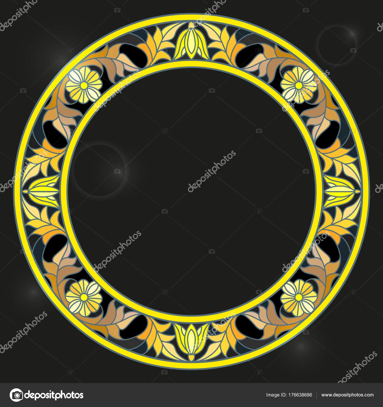 Ilustración en marco de estilo de vidrieras con flores flores, de ...