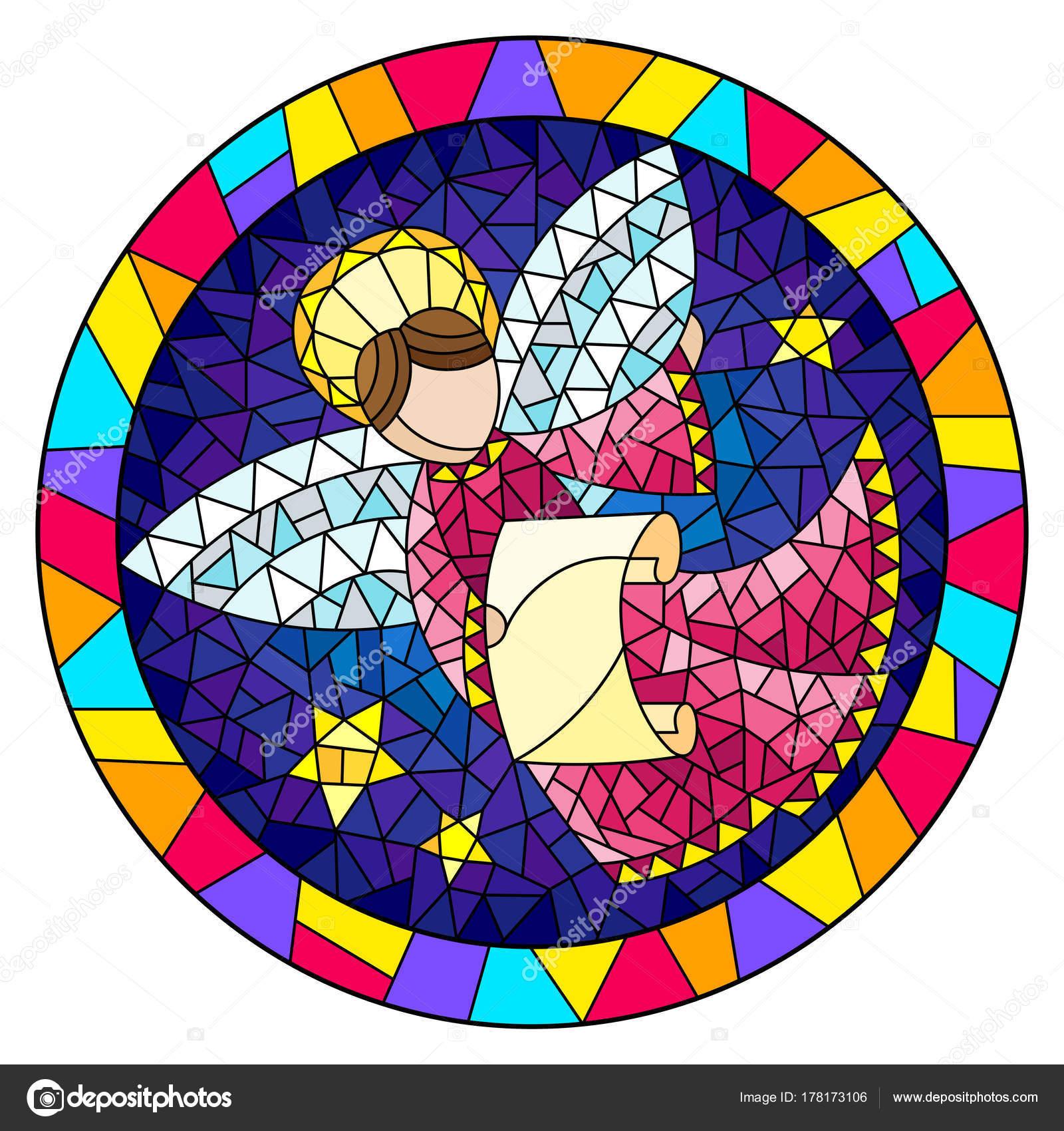 Ilustración en vidrieras de estilo con un ángel Resumen en traje ...