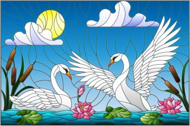 Illustration in stained glass style with pair of Swans , Lotus flowers and reeds on a pond in the sun, sky and clouds