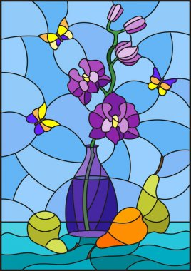 Illustration in stained glass style with bouquets of purple orchid   in a blue vase,butterflies  and pears on table on blue background