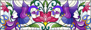Illustration in stained glass style with abstract birds and flowers on a light background , mirror, horizontal image