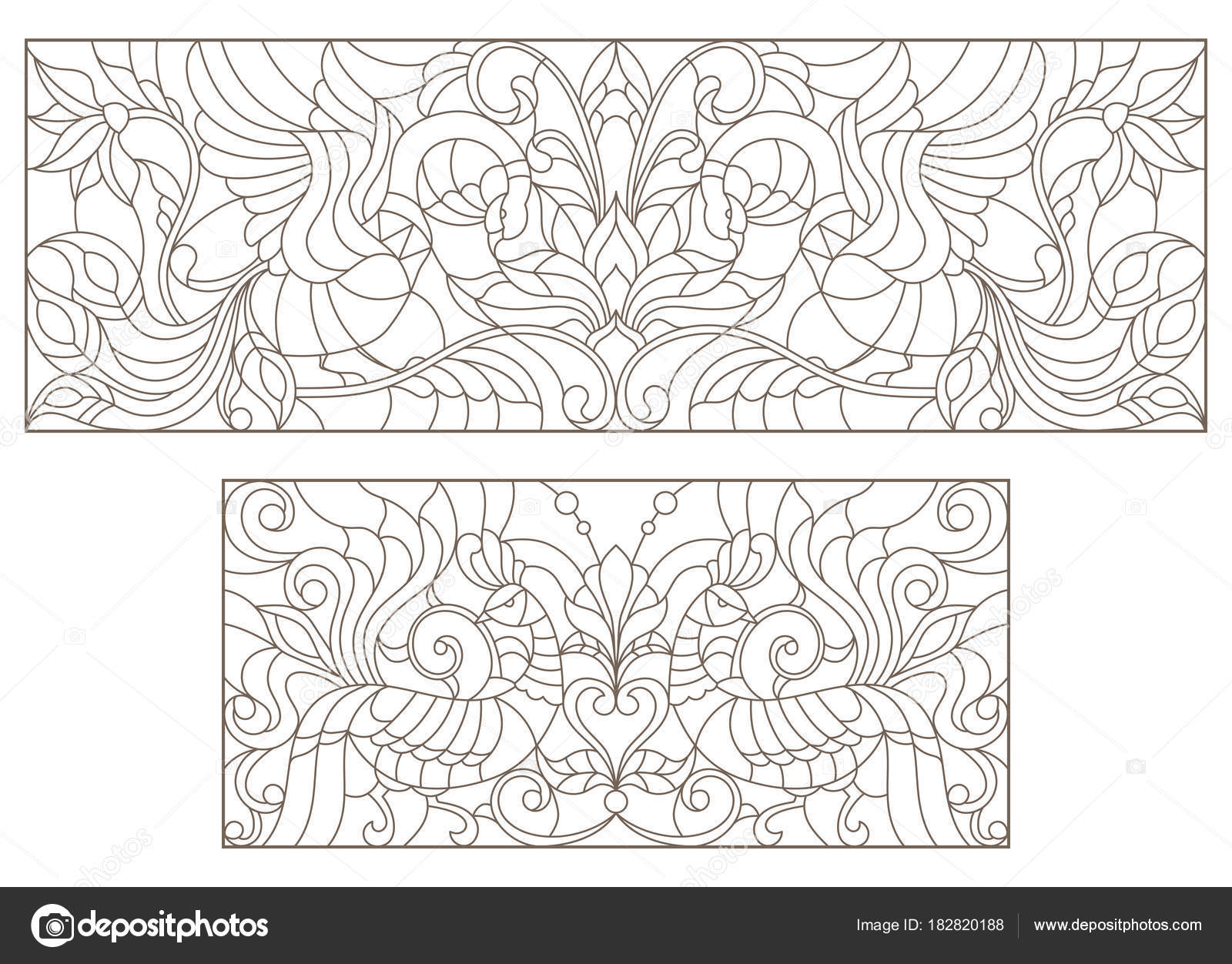 Set Contour Illustrations Of Stained Glass With Abstract