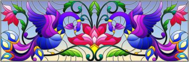 Illustration in stained glass style with abstract birds and flowers on a sky background , mirror, horizontal image
