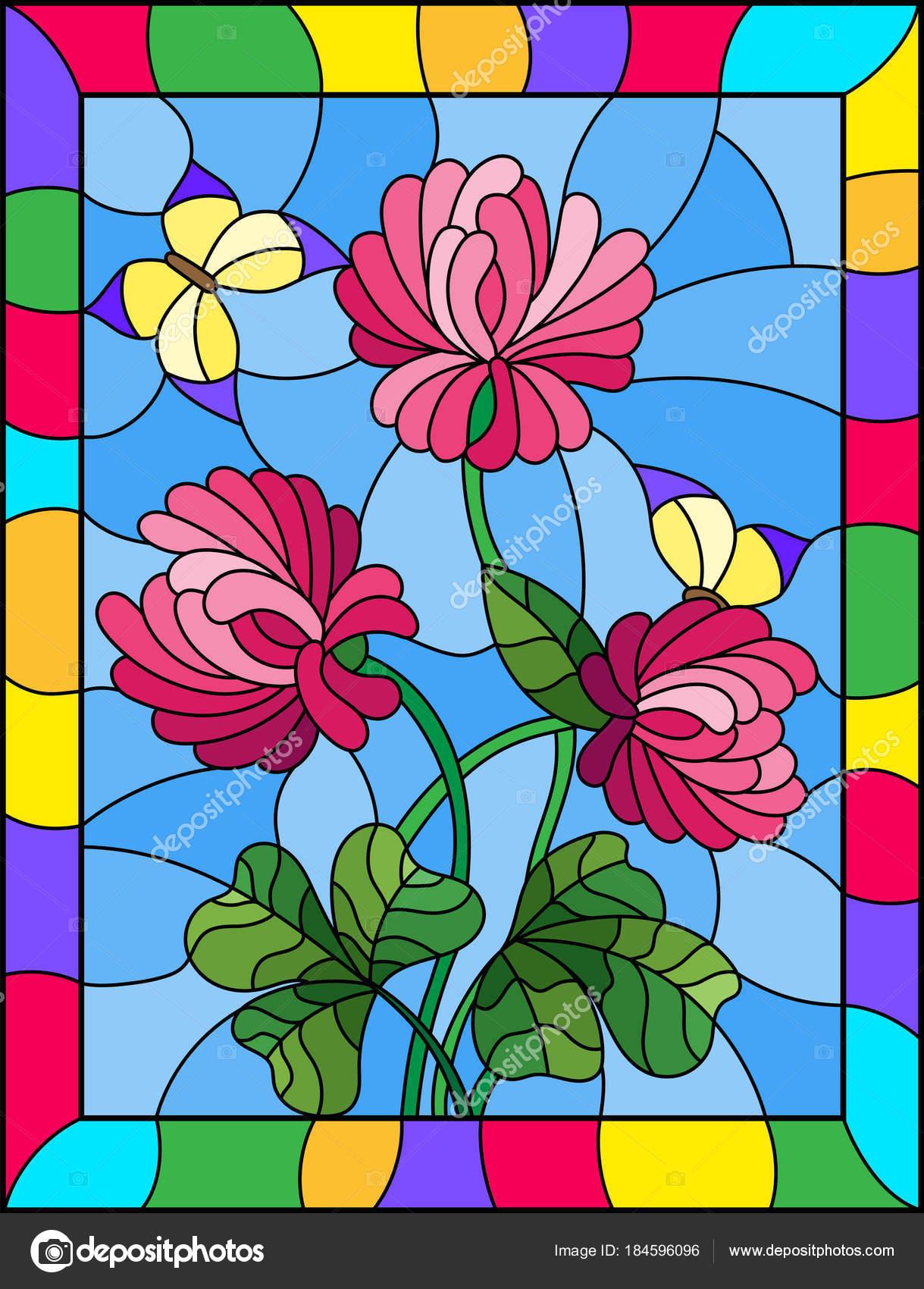 Ilustración estilo vidrieras con ramo de flores de trébol rosado y ...