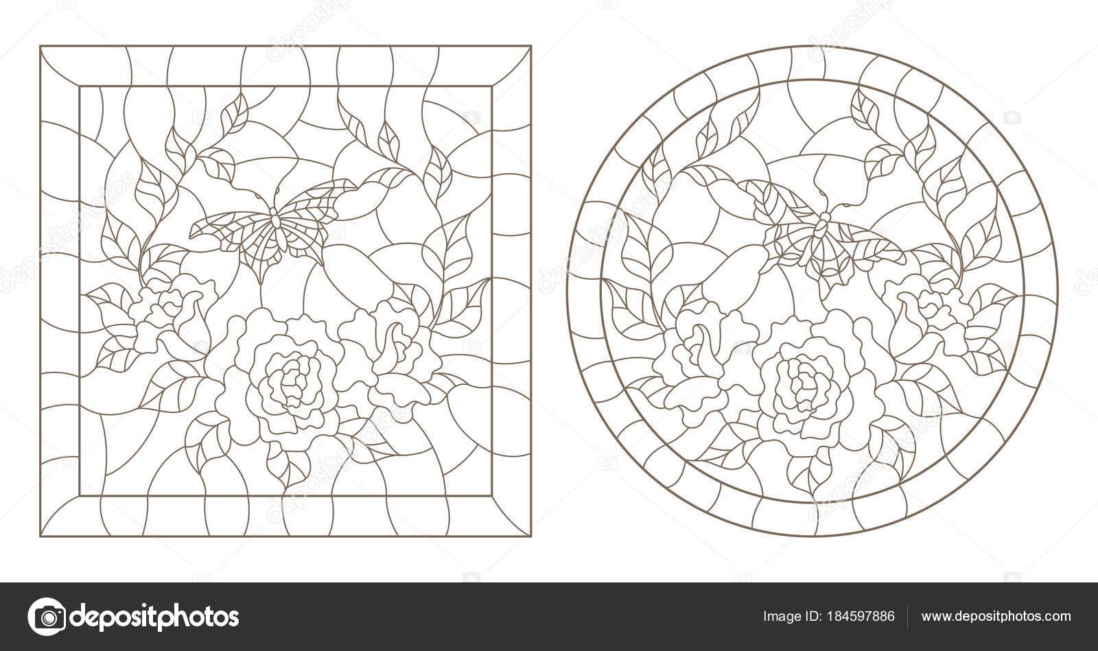 Un conjunto de ilustraciones contornos manchado ventanas de vidrio ...