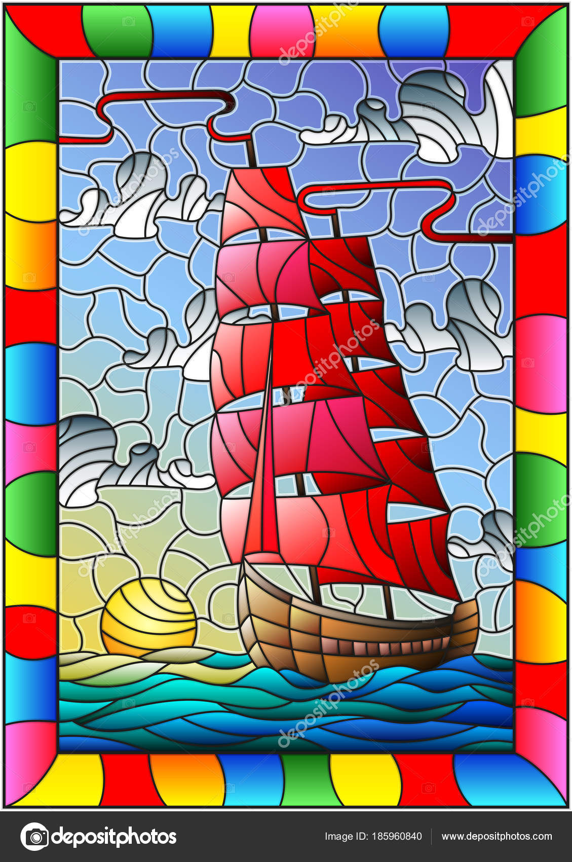Illustration In Stained Glass Style With An Old Ship Sailing With