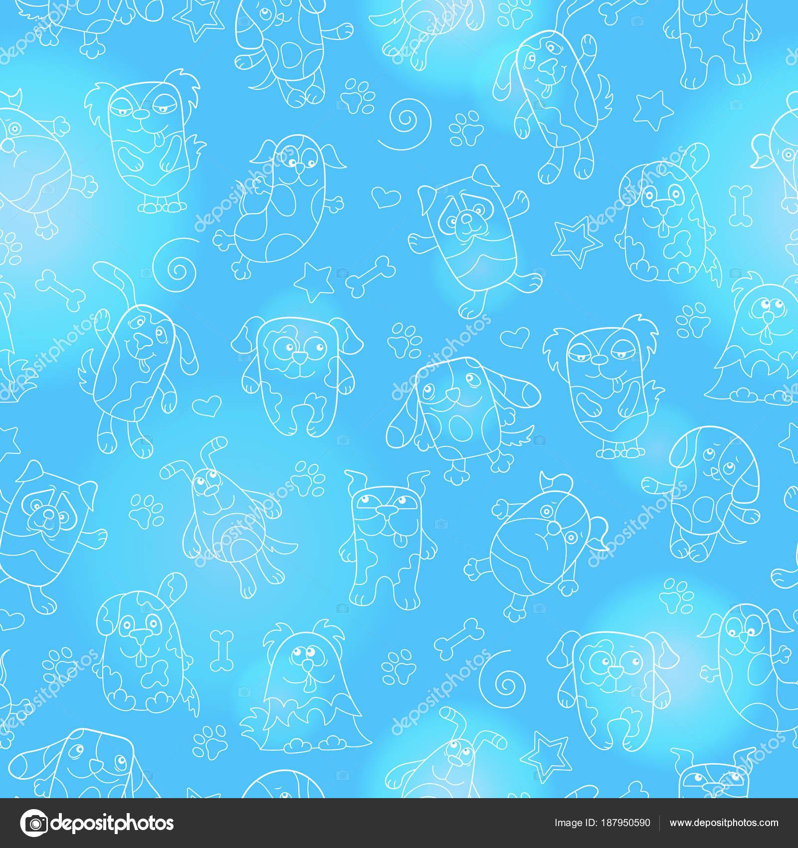 Vzor Bezesve S Obrysy Obrazku Kreslenych Psu Lehke Osnovy Na Modrem