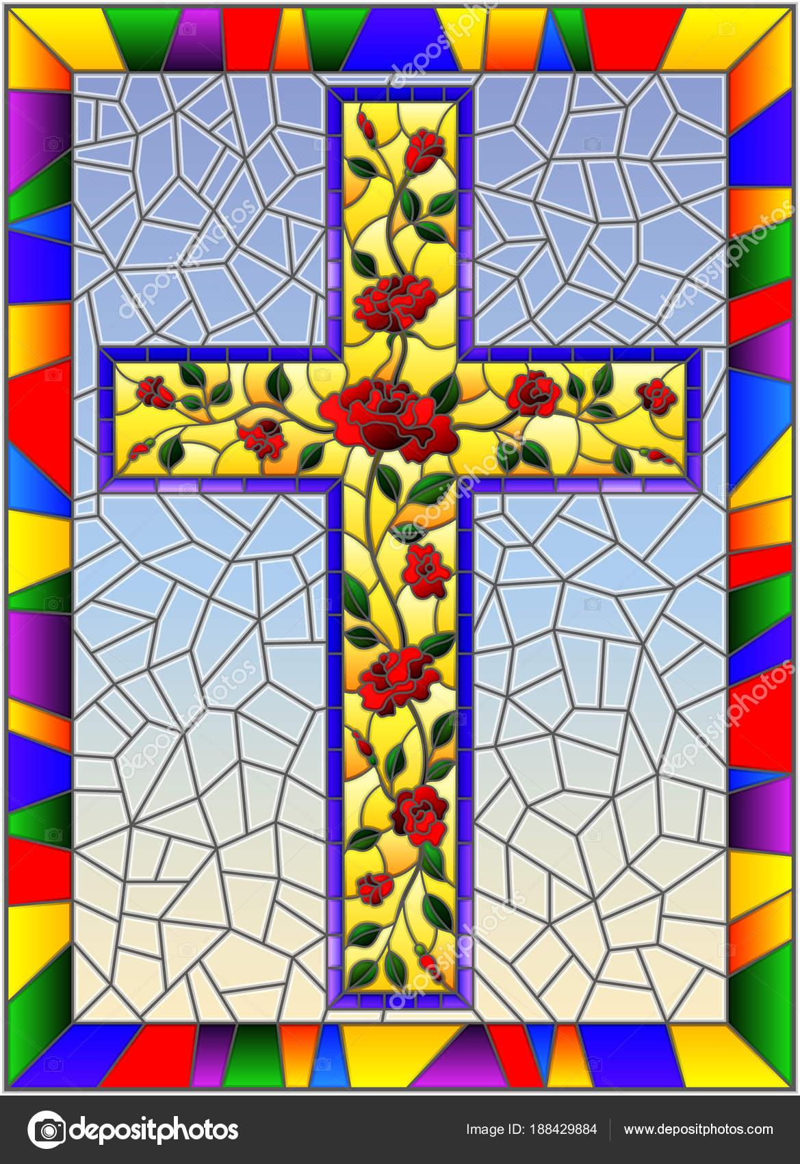 Ilustración en estilo vitral con la cruz cristiana decorada con ...