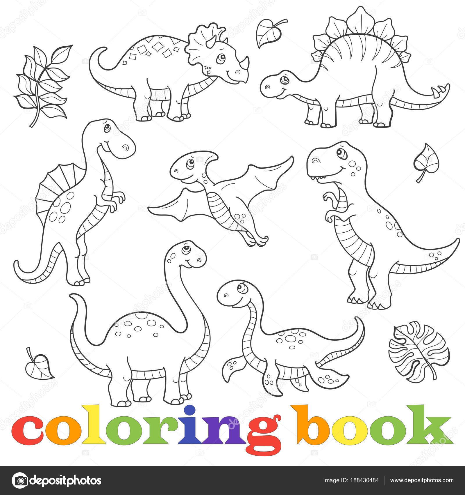 Set de divertidos dibujos animados dinosaurios del contorno, aislado ...