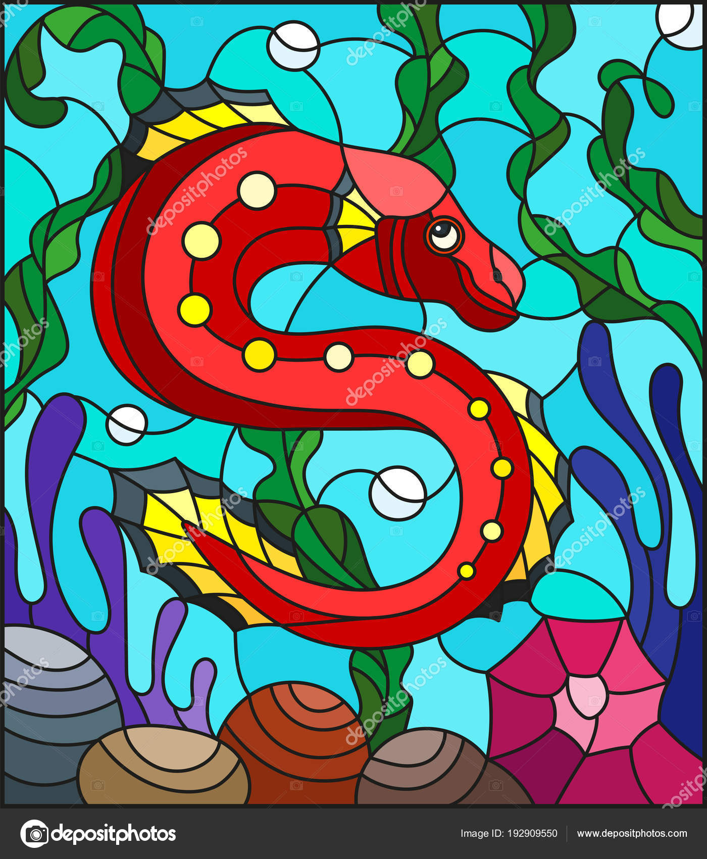 Illustration in stained glass style with abstract colorful exotic ...