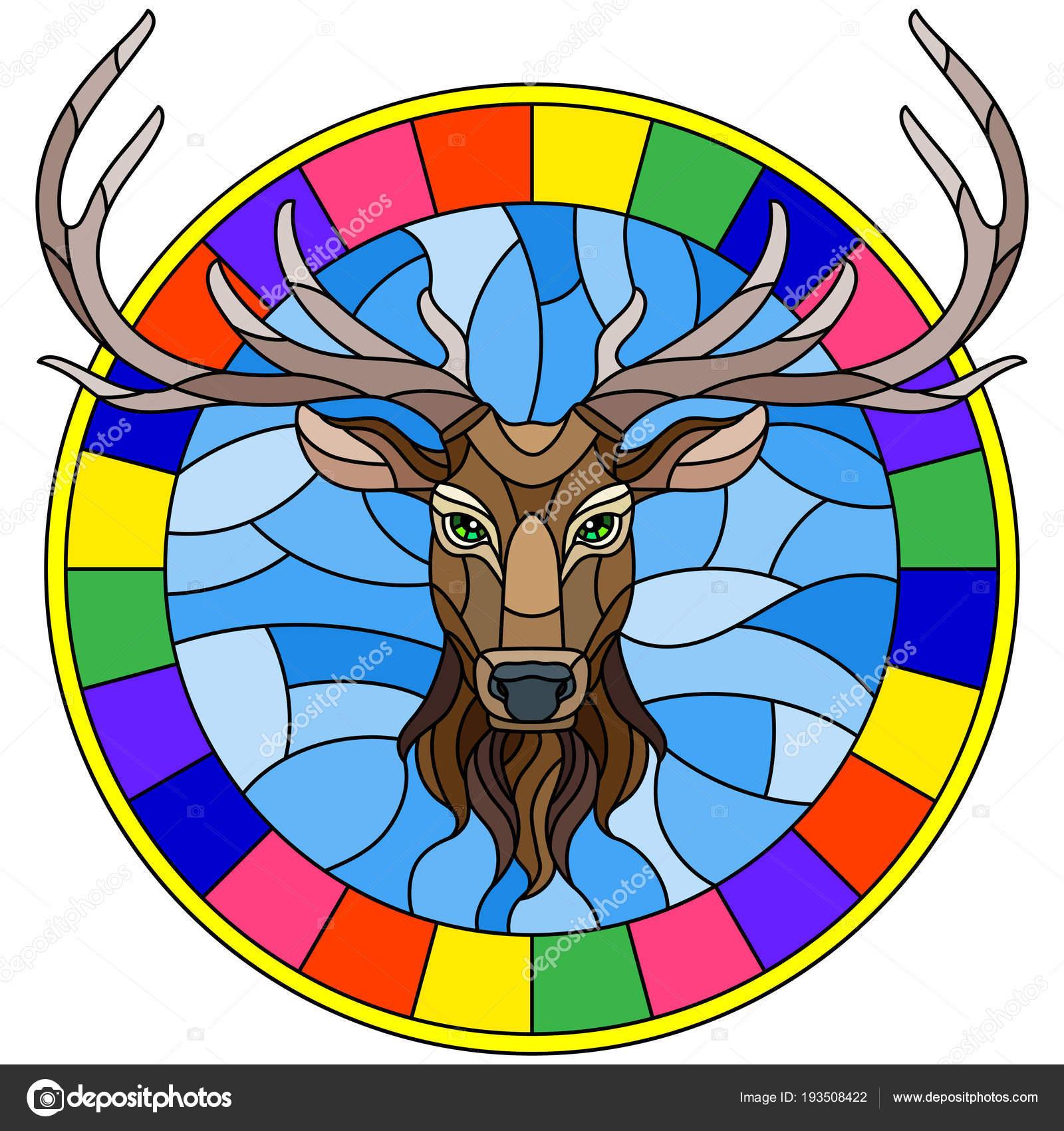 Ilustración de estilo de vidrieras con cabeza de ciervo en marco ...
