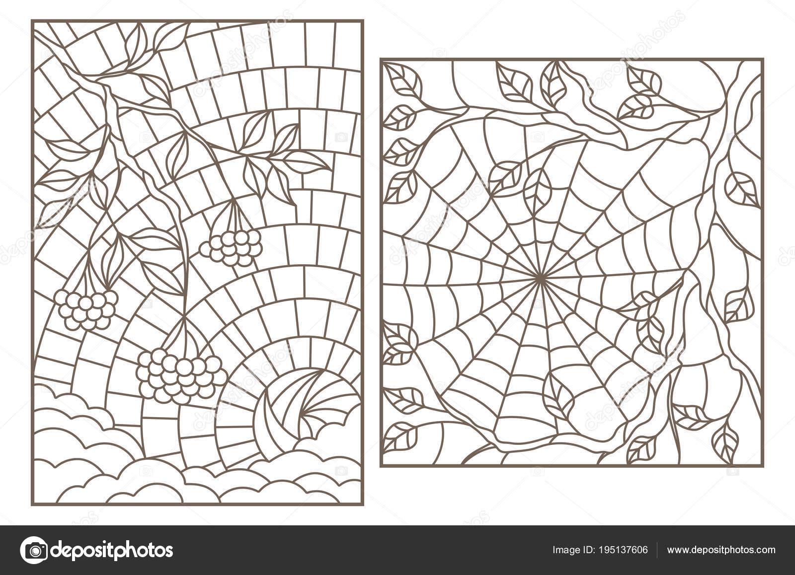 Conjunto de contorno ilustraciones vitrales con ramas de serbal y ...
