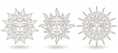 A set of stained-glass contour suns with faces on a white background isolates