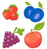 Set Of Strawberry, Pulm, Apple, Grape. Fruit isolated on background. Icons  fruits.