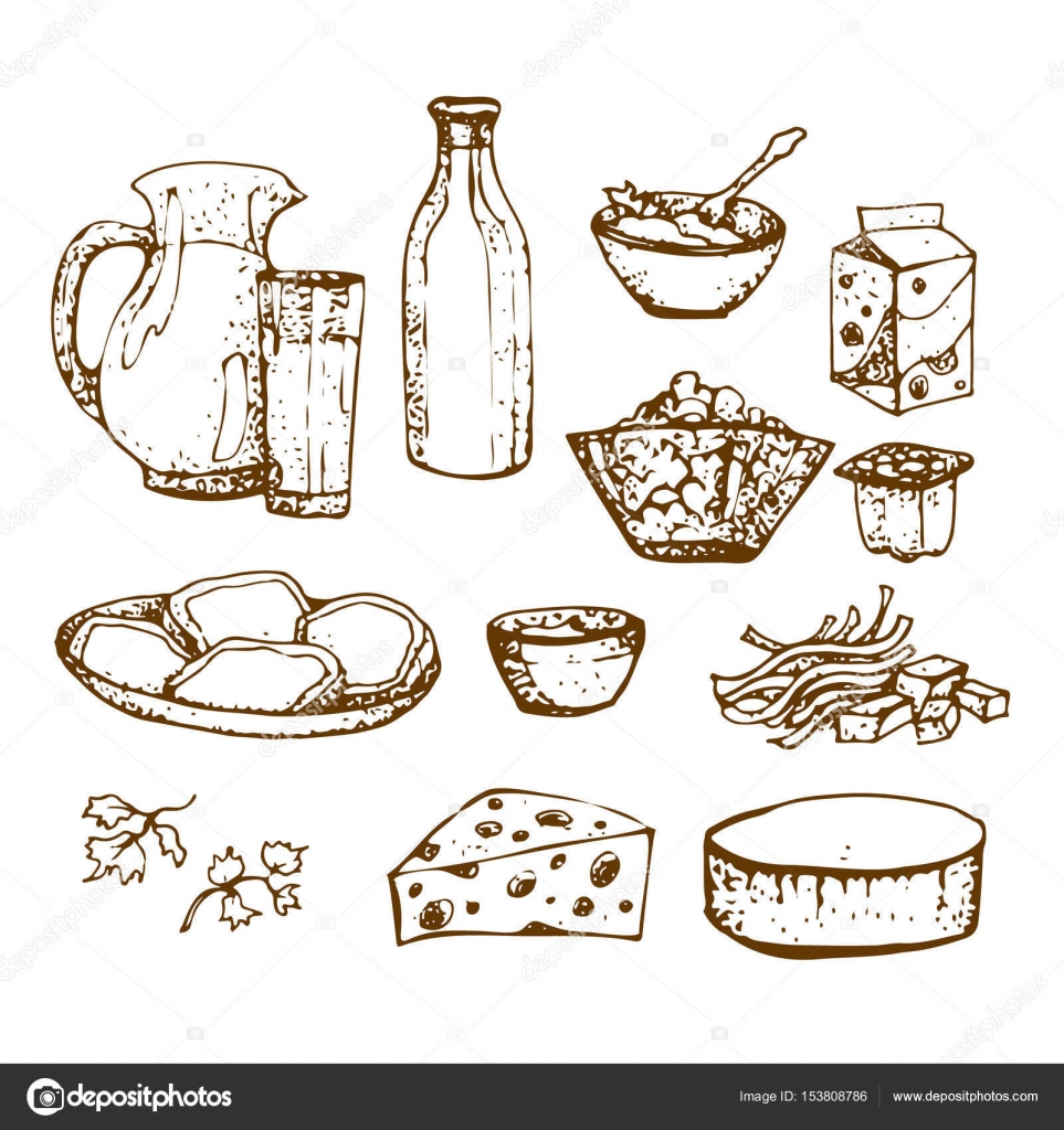 Conjunto de productos lácteos de mano alzada, bocetos alimentos ...