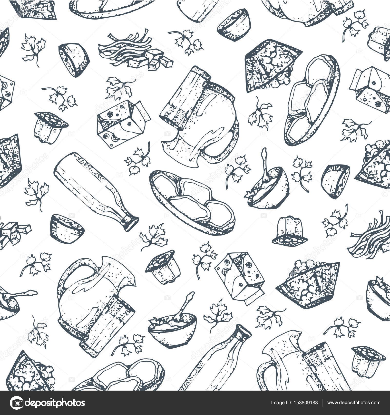 Productos lácteos de patrones sin fisuras, mano alzada, bocetos ...