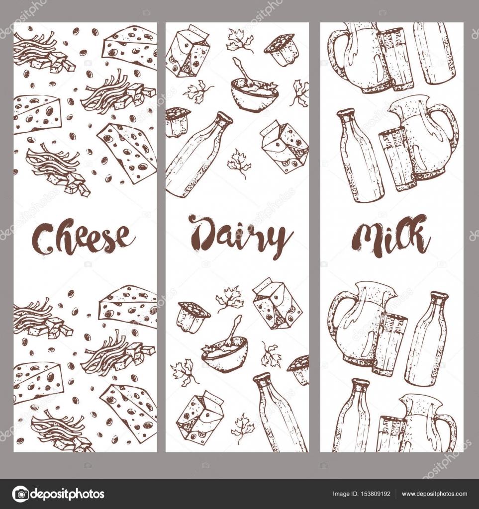 Conjunto de productos lácteos de banners, mano alzada, bocetos ...