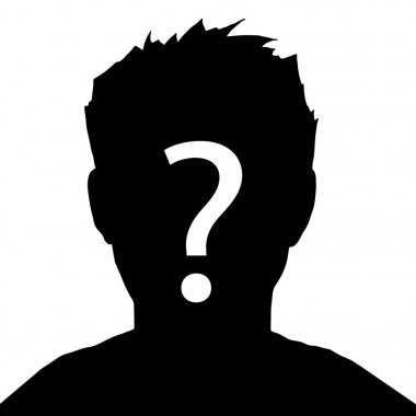 Vector illustration male silhouette profile picture with question mark on the head. Businessman icon.  Incognito, unknown person, silhouette of man on white background