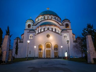 Church of Saint Sava or Saint Sava Temple  (Hram Svetog Save) on the Vracar plateau in Belgrade, Serbia, at night. It is largest serbian orthodox temple and largest orthodox temple on balkan.