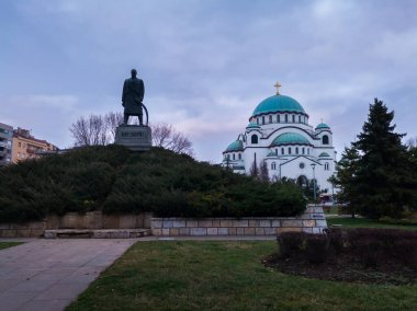 Karadjordje Monument and the Church of Saint Sava or Saint Sava Temple  (Hram Svetog Save) on the Vracar plateau in Belgrade, Serbia, at a overcast day.