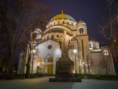 Monument of Saint Sava in front of Saint Sava Temple or Church of Saint Sava (Hram Svetog Save) on the Vracar plateau in Belgrade, Serbia, at night.