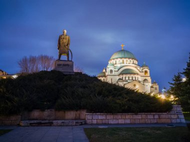 Karadjordje Monument and the Church of Saint Sava or Saint Sava Temple  (Hram Svetog Save) on the Vracar plateau in Belgrade, Serbia, at night.