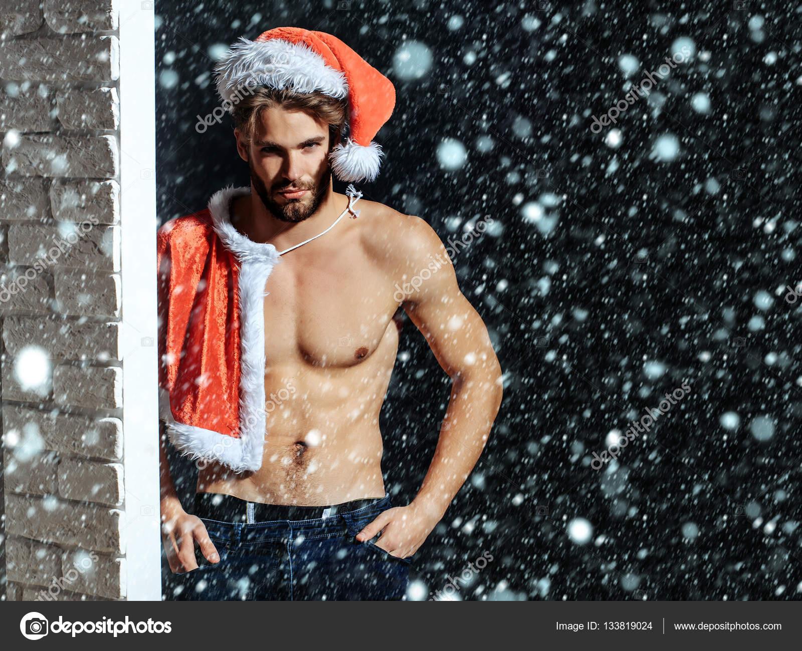 Christmas sexy muscular santa man– stock image